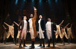 "The ensemble of ""Hamilton"" that runs through September 8 at San Francisco's Orpheum Theatre."