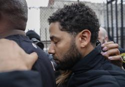 """""""Empire"""" actor Jussie Smollett leaves Cook County jail following his release."""