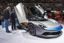 Visitors look at the new Automobili Pininfarina 'Battista' during the press day at the '89th Geneva International Motor Show' in Geneva, Switzerland, Tuesday, March 05, 2019