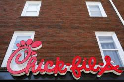 The Chick-fil-A sign at a restaurant in Athens, Ga.