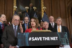 "Speaker of the House Nancy Pelosi, D-Calif., joined by Senate Minority Leader Chuck Schumer, D-N.Y., left, announces the ""Save The Internet Act,"" congressional Democrats' plan to reinstate ""net neutrality"" rules that President Donald Trump repealed in 2017, during an event at the Capitol in Washington, Wednesday, March 6, 2019"