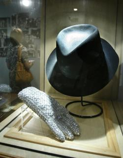 A hat and sequined glove once belonging to Michael Jackson is displayed at the Motown Historical Museum at Hitsville U.S.A. in Detroit.