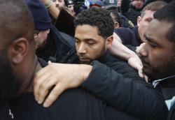 """Empire"" actor Jussie Smollett leaves Cook County jail following his release in Chicago."