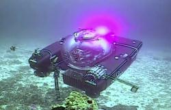 An image taken from video issued by Nekton shows a submersible from the vessel the Ocean Zephyr during a descent into the Indian Ocean off Alphonse Atoll near the Seychelles, Tuesday March 12, 2019