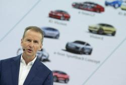 Herbert Diess, CEO of the Volkswagen AG, addresses the media during the annual press conference of the car manufacturer Volkswagen AG in Wolfsburg, Germany, Tuesday, March 12, 2019