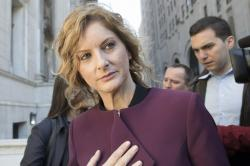Summer Zervos leaves New York state appellate court, Thursday, Oct. 18, 2018, in New York.