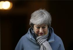 Britain's Prime Minister Theresa May leaves 10 Downing street in London, Thursday, March 14, 2019.