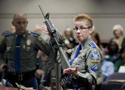 In this Jan. 28, 2013, file photo, firearms training unit Detective Barbara J. Mattson, of the Connecticut State Police, holds a Bushmaster AR-15 rifle, the same make and model used by Adam Lanza in the 2012 Sandy Hook School shooting.