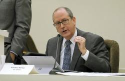 In this Jan. 22, 2018 file photo, N.C. Sen. Dan Bishop speaks during a joint N.C. House-Senate committee meeting on judicial reform and redistricting held at the Legislative Office Building in downtown Raleigh, N.C.