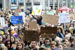 Several thousand schoolchildren take part in a climate protest in Bergen, Norway, Thursday, March 14, 2019