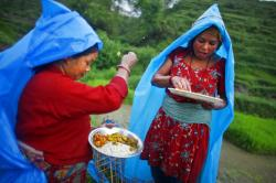 A Nepalese farmer woman, left, ritualistically offers a small portion of food to god before eating her lunch.