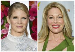 This combination photo shows Broadway actresses Kelli O'Hara at the Tony Awards in New York on June 10, 2018, left, and Marin Mazzie at the Drama Desk Awards in New York on June 3, 2012.