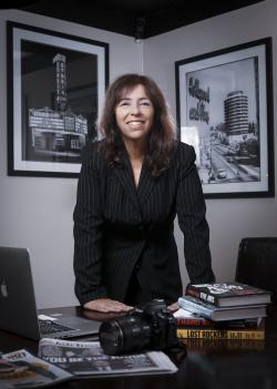 In this October 24, 2018, photo provided by David Fearn, is Donna Balancia in her office in Los Angeles.