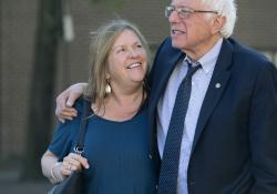 In this April 19, 2016, file photo, Democratic presidential candidate Sen. Bernie Sanders, I-Vt., and his wife Jane take a walk in State College, Pa.