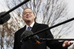 In this Monday, March 4, 2019, file photo, Kevin Hassett, chairman of the White House Council of Economic Advisers, talks to media outside of the White House in Washington