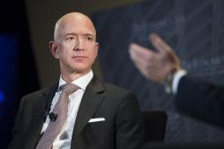 In this Sept. 13, 2018, file photo Jeff Bezos, Amazon founder and CEO, speaks at The Economic Club of Washington's Milestone Celebration in Washington