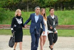 "From left to right: Catherine O'Hara, Eugene Levy, Annie Murphy and Daniel Levy in ""Schitt's Creek."""