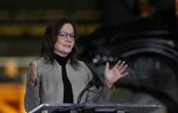 General Motors Chairman and CEO Mary Barra announces the company investment of $300 million in its Orion Township, Mich., assembly plant to produce a new Chevrolet electric vehicle, Friday, March 22, 2019, in Orion Township, Mich.