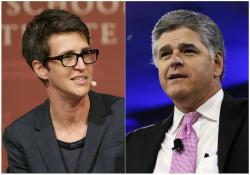 Rachel Maddow, left, and Sean Hannity, right