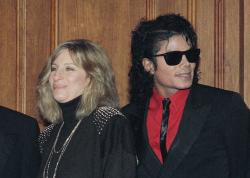 Barbra Streisand and Michael Jackson attend the Scopus Awards of the American Friends of the Hebrew University ceremony in 1986.
