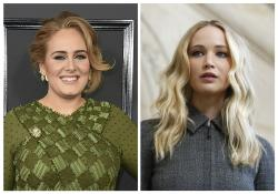 Adele, left, and Jennifer Lawrence, right.