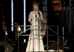 "Patti LuPone performs ""Don't Cry for Me Argentina"" during a tribute to Andrew Lloyd Webber at the Grammys."