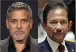 George Clooney, left, and Brunei's Sultan Hassanal Bolkiah, right.