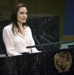 Angelina Jolie, United Nations High Commissioner for Refugees special?envoy, address a meeting on U.N. peacekeeping at U.N. headquarters, Friday March 29, 2019. (AP Photo/Bebeto Matthews)