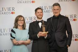 Actress Sally Field, from left, actors Kyle Soller and Bill Pullman pose for photographers backstage at the Olivier Awards in London.