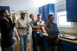 """From left to right: Jonathan Van Ness, Karamo Brown, Antoni Porowski, Tan France, and Jess Guilbeaux on """"Queer Eye"""""""
