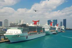 Cruise ships in port of Miami.