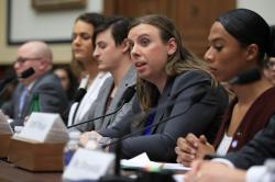 Army Staff Sgt. Patricia King, second from right, together with other transgender military members, from left, Navy Lt. Cmdr. Blake Dremann, Army Capt. Alivia Stehlik, Army Capt. Jennifer Peace and Navy Petty Officer Third Class Akira Wyatt, testify about their military service before a House Armed Services Subcommittee on Military Personnel hearing on Capitol Hill.