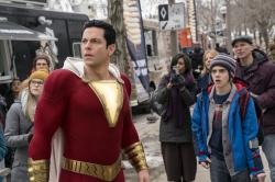 "Zachary Levi, left, and Jack Dylan Grazer in a scene from ""Shazam!"""
