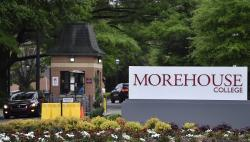 In this Friday, April 12, 2019 photo, people enter the campus of Morehouse College in Atlanta.
