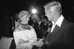 "In this May 25, 1978 file photo, Swedish actress Bibi Andersson meets George Peppard at a party for the announcement of start of new U.S. film ""Cabo Blanco""."