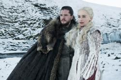 "This photo released by HBO shows Kit Harington as Jon Snow, left, and Emilia Clarke as Daenerys Targaryen in a scene from ""Game of Thrones,"" which premiered its eighth season on Sunday. (HBO via AP)"