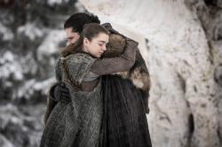"""Maisie Williams, left, and Kit Harington in a scene from """"Game of Thrones."""""""