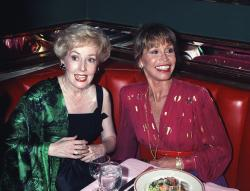 "Mary Tyler Moore, right, is joined by former ""Mary Tyler Moore Show"" co-star Georgia Engel, left, who played Georgette, at New York's Russian Tea Room, as the two reunited during an Emmy Awards screening party in 1992."