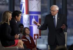 Sen. Bernie Sanders speaks during a Fox News town-hall style event.