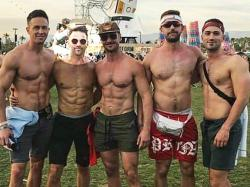 Former U.S. Rep. Aaron Schock (second from left) at Coachella.