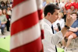 South Bend Mayor Pete Buttigieg speaks in Iowa in April 16, 2019