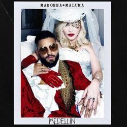 "The single cover for Madonna and Maluma's ""Madellin"""