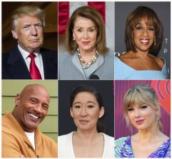 "President Donald Trump, top row from left, House Speaker Nancy Pelosi, CBS News' Gayle King, bottom row from left, actor-producer Dwayne Johnson, actress Sandra Oh and singer Taylor Swift are among the people honored in Time's ""100 Most Influential People in the World"" issue."