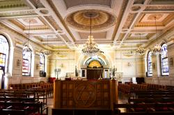 The sanctuary at Temple Beth-El in Casablanca, Morocco.
