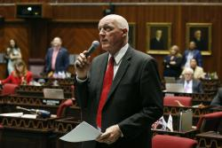 Arizona House Speaker Rusty Bowers, R-Mesa, offers up an amendment as lawmakers debate among three proposed laws that are designed to deal with distracted driving caused by cellphone use on the floor of the House of Representatives at the Arizona Capitol Thursday, April 18, 2019, in Phoenix