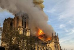 This photo taken on Monday April 15, 2019 shows Notre Dame cathedral burning in Paris