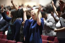 In this Feb. 10, 2019, file photo, Sen. Kirsten Gillibrand, D-N.Y., worships at Mount Moriah Missionary Baptist Church in North Charleston, S.C.