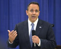 In this Nov. 6, 2015 file photo, Kentucky Governor-elect Matt Bevin addresses reporters during a news conference in Frankfort, Ky.