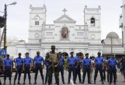 Sri Lankan Army soldiers secure the area around St. Anthony's Shrine after a blast in Colombo, Sri Lanka, Sunday, April 21, 2019