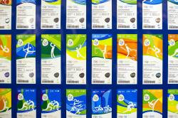 Olympic tickets are displayed during an event at the Rio 2016 headquarters in Rio de Janeiro, Brazil. (file)
